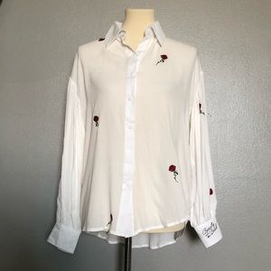 Beauty&Beast Embroidered White Balloon LS Blouse